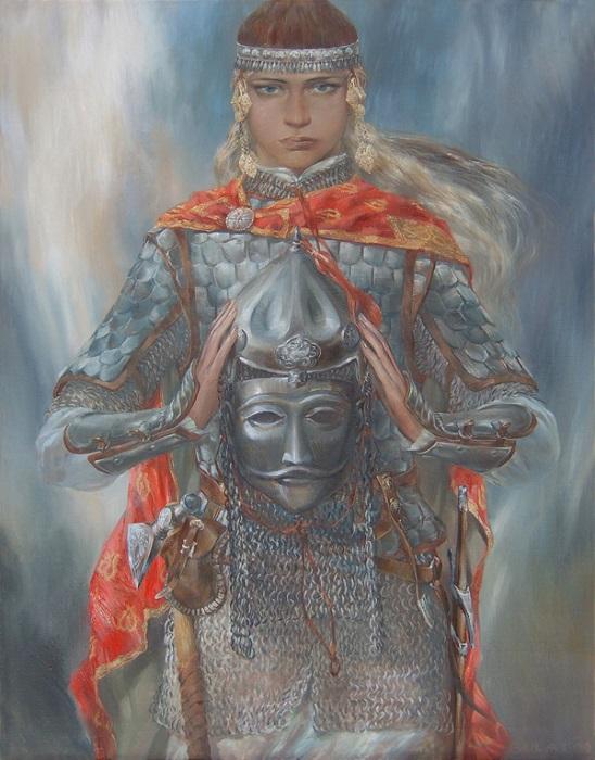 Легендарная булгарская воительница Алтынчеч от художника Булата Гильванова.